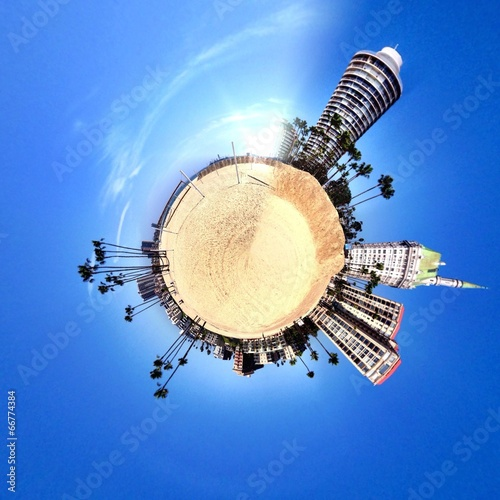 abstract globe with modern buildings in circular shape