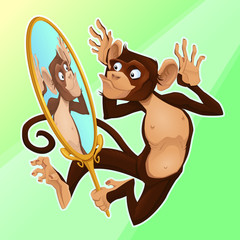 Funny monkey reflecting himself in a mirror.