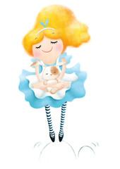 Alice in wonderland with white rabbit illustration