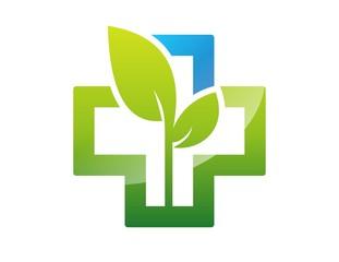 medicine health icon,cross plant logo,plus nature symbol