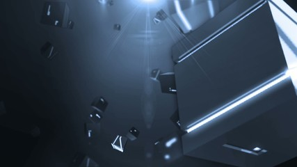 abstract background with flying rotating shining cubes