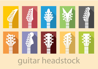 guitar headstock vector set