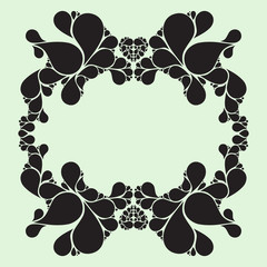Drop elements, vintage frame, floral design
