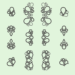 Set of tear drop elements, swirl and floral design, silhouette