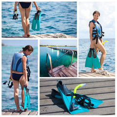 Woman prepares for snorkeling or diving with equipment for snork