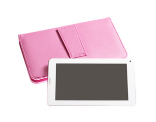 Tablet computer in pink case keyboard isolated