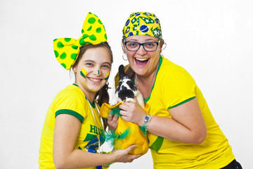 Brazilian family supporters and rabbit