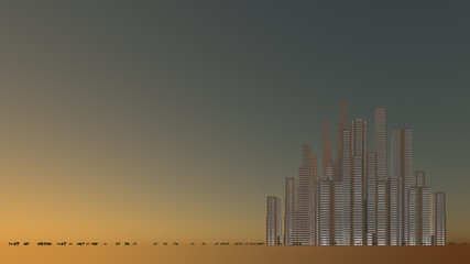夕方のビル街