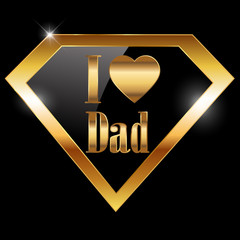 happy fathers day, i love dad greeting card with super hero