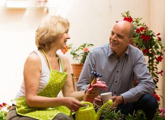 Female florist with client