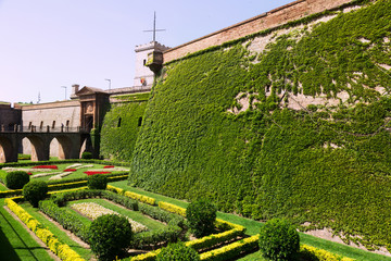 Castillo de Montjuic with garden in summer. Barcelona