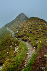 Misty mountains and hiking trail
