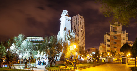Night panoramic view of Cervantes Monument  in Madrid