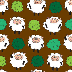 Sheep and shrubs. Seamless pattern.