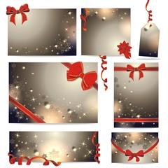 weihnachtliche Geschenkkarten mit Schleifen