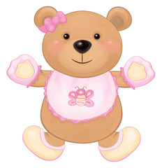 Vector cute baby bear girl isolated.