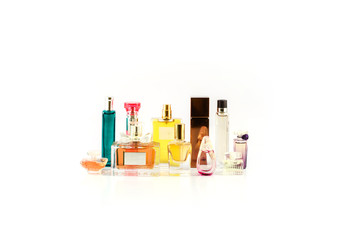 various perfumes isolated