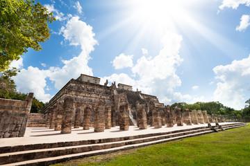 Temple and columns, Chichen Itza, Mexico