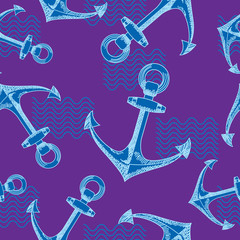 Anchors and waves. Seamless vector pattern.