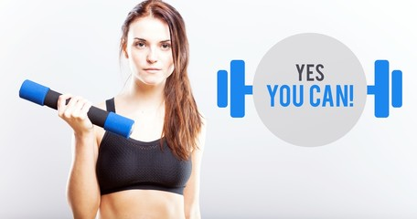 Yes you can, woman with dumbbell