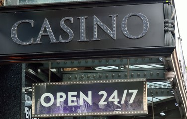 Casino Sign open 24/7