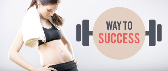 Way to success, woman looking at flat belly