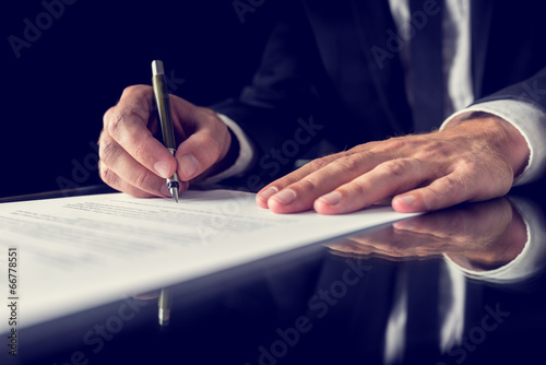 Signing legal document poster