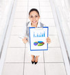 Businesswoman smile hold clipboard report document