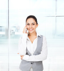business woman smile cell phone call
