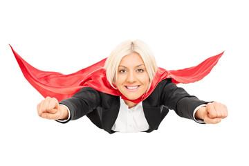 Female superhero flying isolated on white background