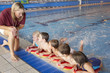 Children having swimming lesson - 66778974