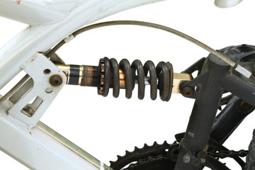 Adjustable shock absorber with spring on bicycle