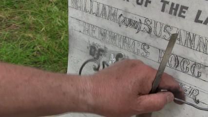 Stonemason Engraving Marble Gravestone