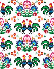 Seamless Polish folk art pattern - Wzory Lowickie, wycinanka
