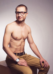 Eyewear concept. Beautiful (handsome) muscular male model