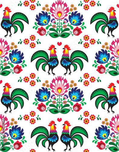seamless-polish-folk-art-pattern-wzory-lowickie-wycinanka