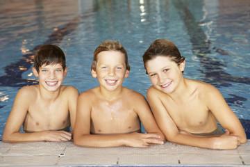 Boys in swimming pool