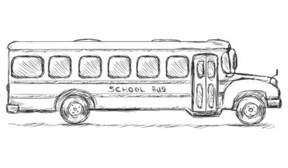 Vector Sketch School Bus. Side View.
