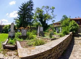 Rural churchyard in Bulgaria