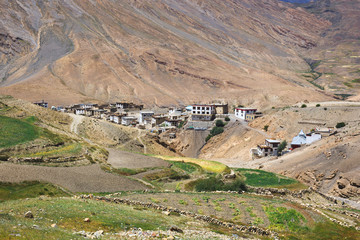 Mountain village Kibber (4270m.) in Spiti, HP, India