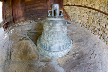 Bell at the entrance of the church of St. Nicholas in Zheravna
