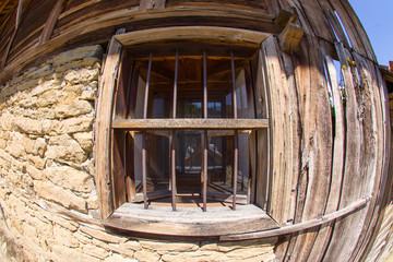Wooden window in rural Bulgarian architecture
