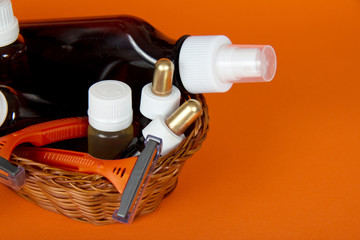 Cosmetics set in a wattled basket