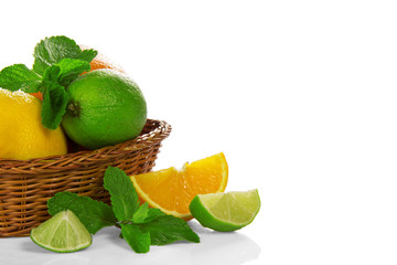 Citrus and mint in a basket