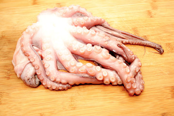 Whole Raw Octopus on a Wooden Cutting Board