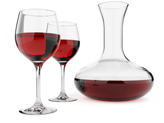 Wine glasses and decanter isolated