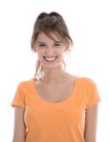 Fototapety Gesicht einer lachenden jungen Frau in Shirt orange isoliert