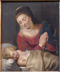 Brussels - Madonna and sleeping little Jesus - st. Nicholas