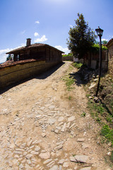 Rural street leading uphill