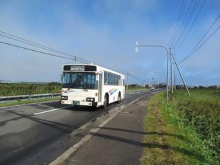 無人地帯を走るバス